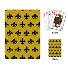 Royal1 Black Marble & Yellow Denim (r) Playing Card by trendistuff