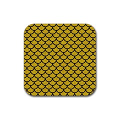 Scales1 Black Marble & Yellow Denim Rubber Coaster (square)  by trendistuff