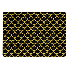 Scales1 Black Marble & Yellow Denim (r) Samsung Galaxy Tab 10 1  P7500 Flip Case by trendistuff