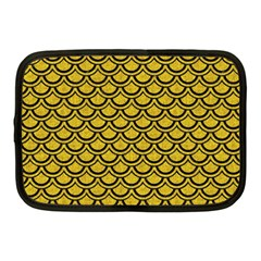 Scales2 Black Marble & Yellow Denim Netbook Case (medium)
