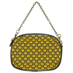 Scales2 Black Marble & Yellow Denim Chain Purses (one Side)  by trendistuff