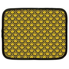 Scales2 Black Marble & Yellow Denim Netbook Case (xxl)  by trendistuff