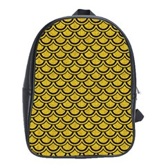 Scales2 Black Marble & Yellow Denim School Bag (xl) by trendistuff