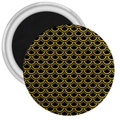 Scales2 Black Marble & Yellow Denim (r) 3  Magnets by trendistuff