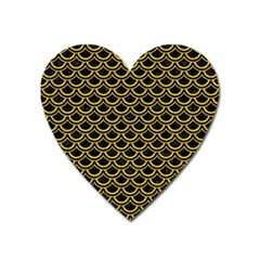 Scales2 Black Marble & Yellow Denim (r) Heart Magnet by trendistuff