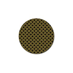 Scales2 Black Marble & Yellow Denim (r) Golf Ball Marker by trendistuff