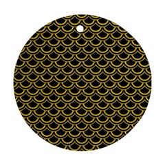Scales2 Black Marble & Yellow Denim (r) Round Ornament (two Sides) by trendistuff