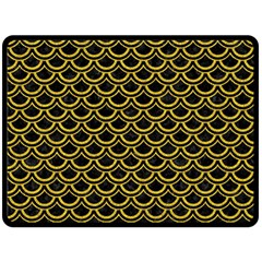 Scales2 Black Marble & Yellow Denim (r) Double Sided Fleece Blanket (large)  by trendistuff