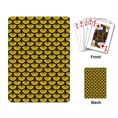 Scales3 Black Marble & Yellow Denim Playing Card by trendistuff