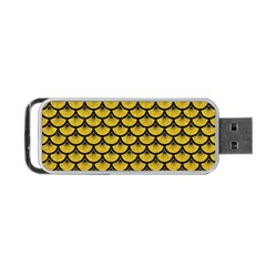 Scales3 Black Marble & Yellow Denim Portable Usb Flash (one Side) by trendistuff