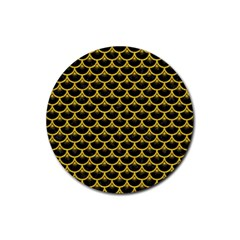 Scales3 Black Marble & Yellow Denim (r) Rubber Coaster (round)  by trendistuff