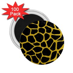 Skin1 Black Marble & Yellow Denim 2 25  Magnets (100 Pack)  by trendistuff