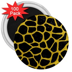 Skin1 Black Marble & Yellow Denim 3  Magnets (100 Pack) by trendistuff