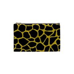 Skin1 Black Marble & Yellow Denim Cosmetic Bag (small)  by trendistuff