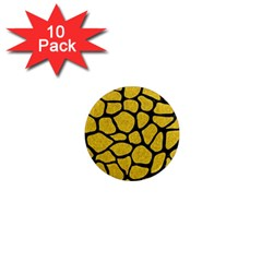 Skin1 Black Marble & Yellow Denim (r) 1  Mini Magnet (10 Pack)  by trendistuff