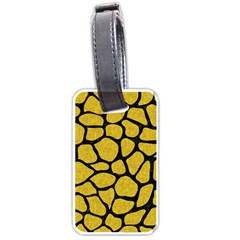 Skin1 Black Marble & Yellow Denim (r) Luggage Tags (one Side)  by trendistuff