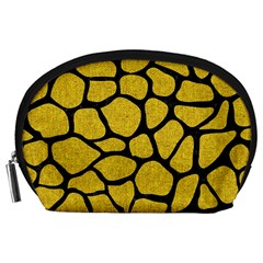 Skin1 Black Marble & Yellow Denim (r) Accessory Pouches (large)  by trendistuff