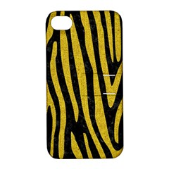 Skin4 Black Marble & Yellow Denim Apple Iphone 4/4s Hardshell Case With Stand by trendistuff