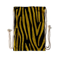 Skin4 Black Marble & Yellow Denim Drawstring Bag (small) by trendistuff