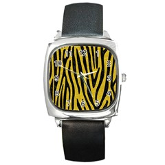 Skin4 Black Marble & Yellow Denim (r) Square Metal Watch by trendistuff