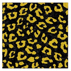 Skin5 Black Marble & Yellow Denim Large Satin Scarf (square) by trendistuff