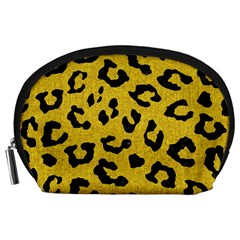 Skin5 Black Marble & Yellow Denim (r) Accessory Pouches (large)  by trendistuff