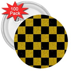 Square1 Black Marble & Yellow Denim 3  Buttons (100 Pack)  by trendistuff