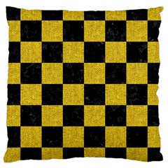 Square1 Black Marble & Yellow Denim Large Cushion Case (two Sides) by trendistuff