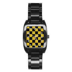 Square1 Black Marble & Yellow Denim Stainless Steel Barrel Watch by trendistuff