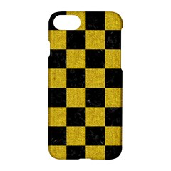 Square1 Black Marble & Yellow Denim Apple Iphone 8 Hardshell Case by trendistuff