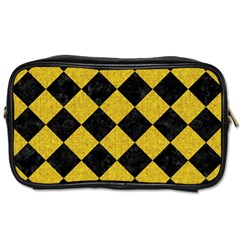 Square2 Black Marble & Yellow Denim Toiletries Bags by trendistuff