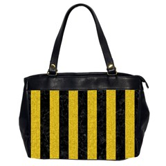 Stripes1 Black Marble & Yellow Denim Office Handbags (2 Sides)  by trendistuff