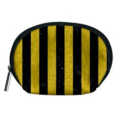 Stripes1 Black Marble & Yellow Denim Accessory Pouches (medium)  by trendistuff