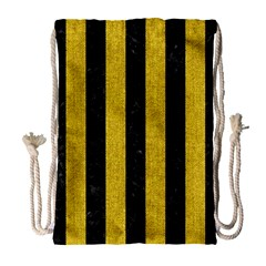 Stripes1 Black Marble & Yellow Denim Drawstring Bag (large) by trendistuff