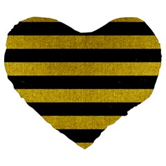 Stripes2 Black Marble & Yellow Denim Large 19  Premium Heart Shape Cushions by trendistuff