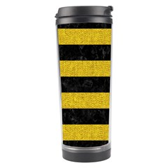 Stripes2 Black Marble & Yellow Denim Travel Tumbler by trendistuff
