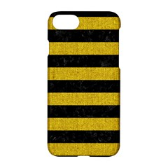 Stripes2 Black Marble & Yellow Denim Apple Iphone 8 Hardshell Case by trendistuff