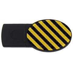 Stripes3 Black Marble & Yellow Denim Usb Flash Drive Oval (2 Gb) by trendistuff