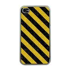 Stripes3 Black Marble & Yellow Denim Apple Iphone 4 Case (clear) by trendistuff