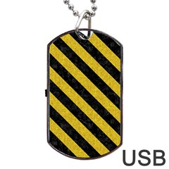 Stripes3 Black Marble & Yellow Denim Dog Tag Usb Flash (two Sides) by trendistuff