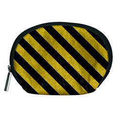 Stripes3 Black Marble & Yellow Denim Accessory Pouches (medium)  by trendistuff