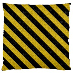 Stripes3 Black Marble & Yellow Denim Large Flano Cushion Case (two Sides) by trendistuff