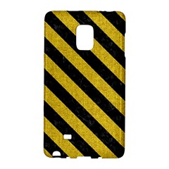 Stripes3 Black Marble & Yellow Denim Galaxy Note Edge