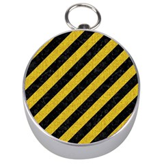 Stripes3 Black Marble & Yellow Denim (r) Silver Compasses by trendistuff