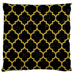 Tile1 Black Marble & Yellow Denim (r) Large Cushion Case (two Sides) by trendistuff