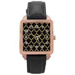 Tile1 Black Marble & Yellow Denim (r) Rose Gold Leather Watch  by trendistuff
