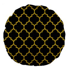 Tile1 Black Marble & Yellow Denim (r) Large 18  Premium Flano Round Cushions by trendistuff