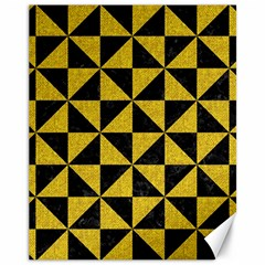 Triangle1 Black Marble & Yellow Denim Canvas 11  X 14   by trendistuff