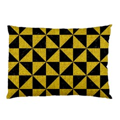 Triangle1 Black Marble & Yellow Denim Pillow Case by trendistuff