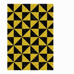 Triangle1 Black Marble & Yellow Denim Small Garden Flag (two Sides) by trendistuff